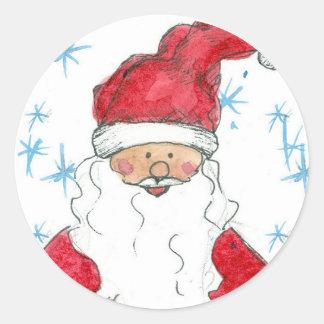 Happy Santa Claus Christmas Holiday Snowflakes Classic Round Sticker
