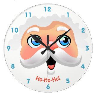 Happy Santa Claus Face Large Clock