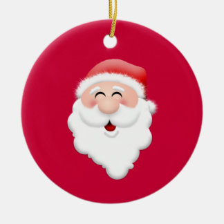 Happy Santa Claus Face Round Ceramic Decoration