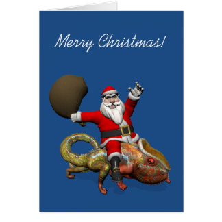 Happy Santa Claus On Huge Panther Chameleon Greeting Card