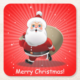 Happy Santa Claus Square Paper Coaster