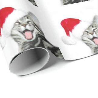 Happy Santa tabby kitten Wrapping Paper