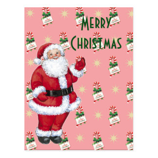 Happy Santa With Peppermint Candy Postcard