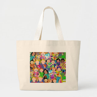 Happy School Kids Large Tote Bag