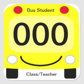 Happy Schoolbus Student Bus Tag Stickers