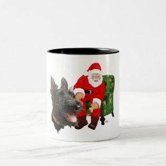 Happy Scottie and Santa Coffee Mugs