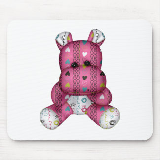 happy scribble hearts hippo mouse pad