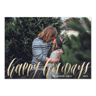 Happy Script Calligraphy | Holiday Photo Card