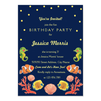 Happy Sea Animal Kids Birthday Party Invitation