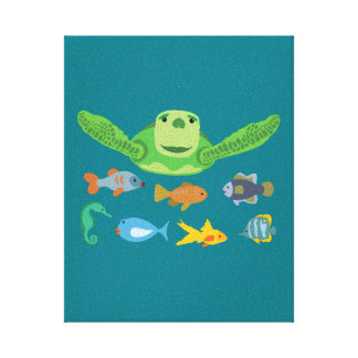 Happy Sea Turtle and Fish Swimming in the Sea Canvas Print