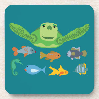 Happy Sea Turtle and Fish Swimming in the Sea Coaster