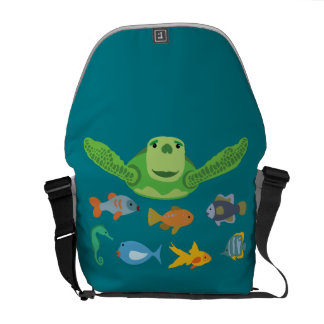 Happy Sea Turtle and Fish Swimming in the Sea Commuter Bag
