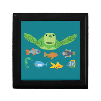 Happy Sea Turtle and Fish Swimming in the Sea Gift Box
