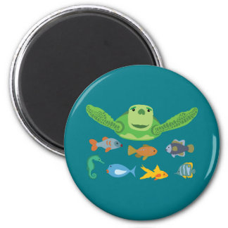 Happy Sea Turtle and Fish Swimming in the Sea Magnet