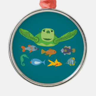 Happy Sea Turtle and Fish Swimming in the Sea Metal Ornament