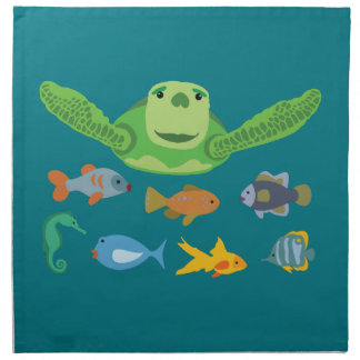 Happy Sea Turtle and Fish Swimming in the Sea Napkin