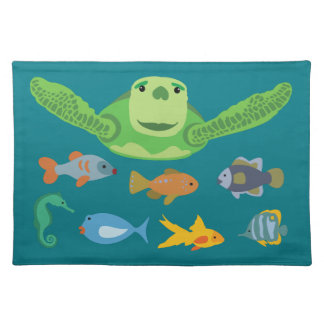Happy Sea Turtle and Fish Swimming in the Sea Placemat
