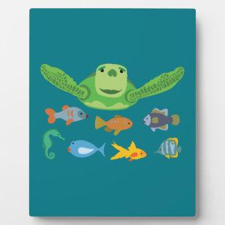 Happy Sea Turtle and Fish Swimming in the Sea Plaque