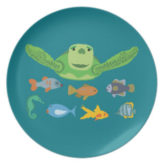 Happy Sea Turtle and Fish Swimming in the Sea Plate