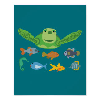 Happy Sea Turtle and Fish Swimming in the Sea Poster