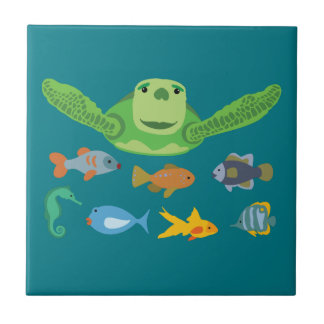 Happy Sea Turtle and Fish Swimming in the Sea Tile