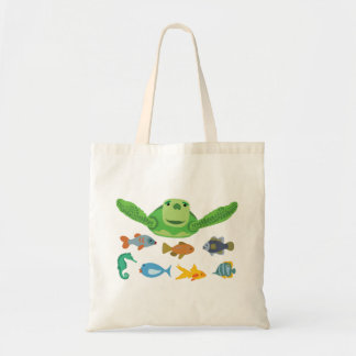 Happy Sea Turtle and Fish Swimming in the Sea Tote Bag