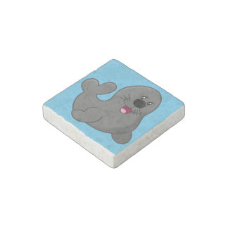 Happy seal stone magnet