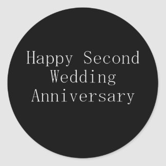 Happy Second Wedding Anniversary Classic Round Sticker