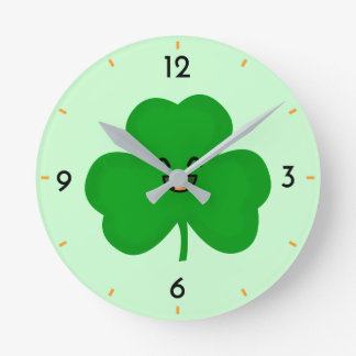 Happy Shamrock Round Clock