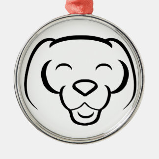 Happy  Shinese Dog Smiling Silver-Colored Round Decoration