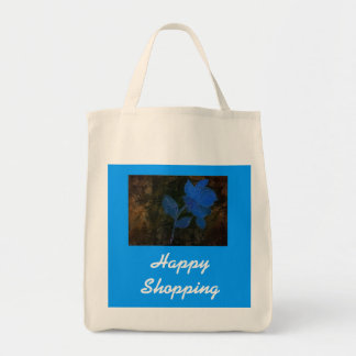 Happy Shopping Budget Tote with Blue Flower Canvas Bags