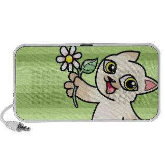 Happy Siamese cat holding Daisy Mini Speakers