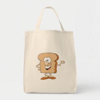happy silly bread toast cartoon bag