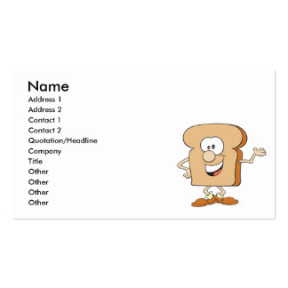 happy silly bread toast cartoon Double-Sided standard business cards (Pack of 100)