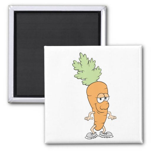 happy silly carrot cartoon fridge magnets