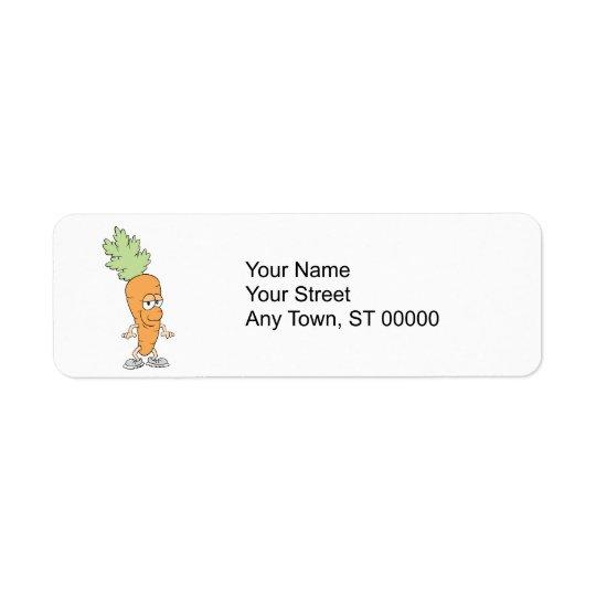 happy silly carrot cartoon return address label