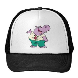 happy silly hippo cartoon mesh hats