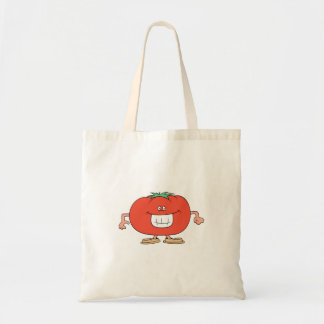 happy silly tomato cartoon budget tote bag