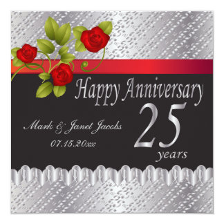 Happy Silver Anniversary | 25 Years 13 Cm X 13 Cm Square Invitation Card