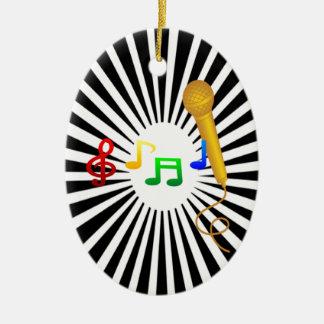 Happy Singing Music Karaoke Sweet Black White Ceramic Ornament