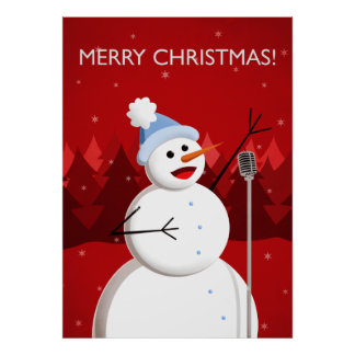 Happy Singing Snowman Merry Christmas Print