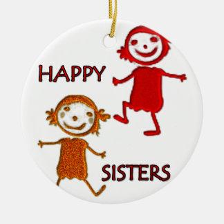 happy sisters round ceramic decoration
