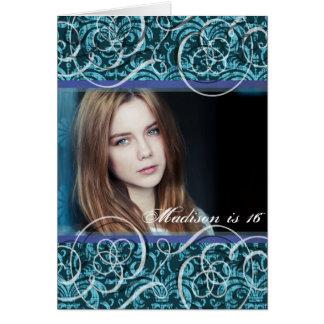 Happy Sixteenth Birthday Damask Photo Portrait Card