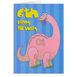 Happy Sixth Birthday Pink Dinosaur Card