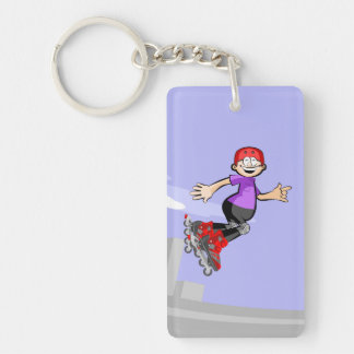 Happy skate on wheels young jumped three times key ring