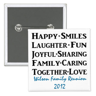 Happy Smiles Family Words 15 Cm Square Badge