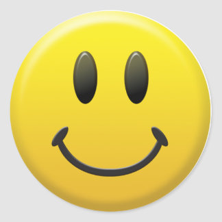 Happy Smiley Face Classic Round Sticker