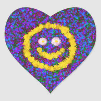 Happy Smiley Face Dandelion Flowers Heart Sticker