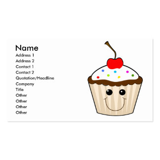happy smiley face kawaii cupcake character business card template