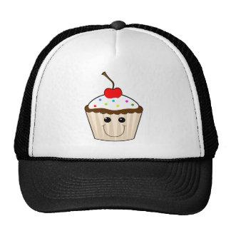 happy smiley face kawaii cupcake character trucker hats
